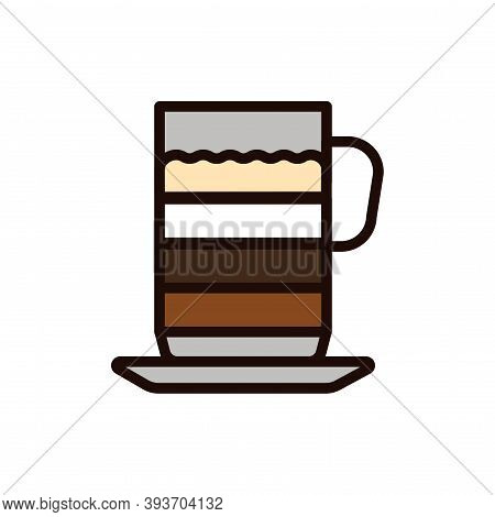 Mocha Coffee Color Line Icon. Isolated Vector Element.