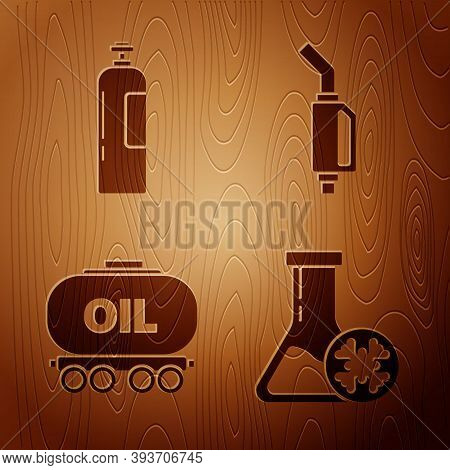 Set Antifreeze Test Tube, Industrial Gas Cylinder Tank, Oil Railway Cistern And Gasoline Pump Nozzle