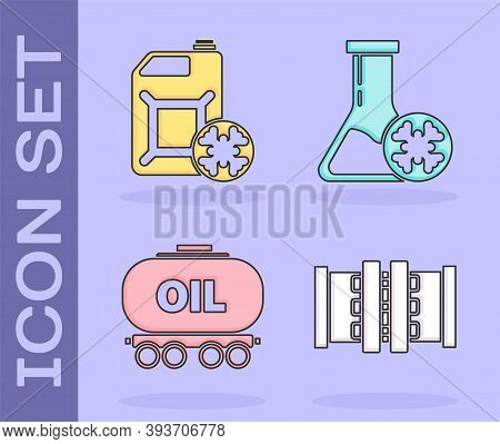 Set Industry Metallic Pipes And Valve, Antifreeze Canister, Oil Railway Cistern And Antifreeze Test