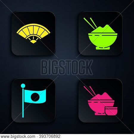 Set Rice In A Bowl With Chopstick, Paper Chinese Or Japanese Folding Fan, National Flag Of Japan On