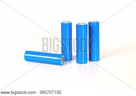 Blue Rechargeable Battery Size 18650 On White Background.