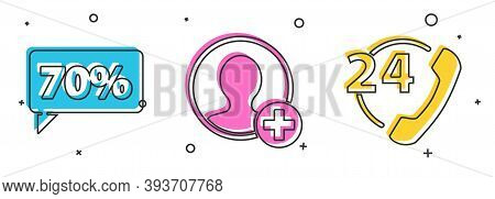 Set Seventy Discount Percent Tag, Create Account Screen And Telephone 24 Hours Support Icon. Vector