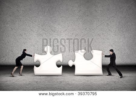 Business Teamwork Put Puzzle Together