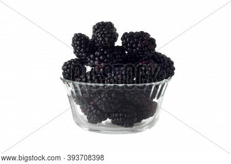 Isolated Glass Bowl Of Blackberries On White