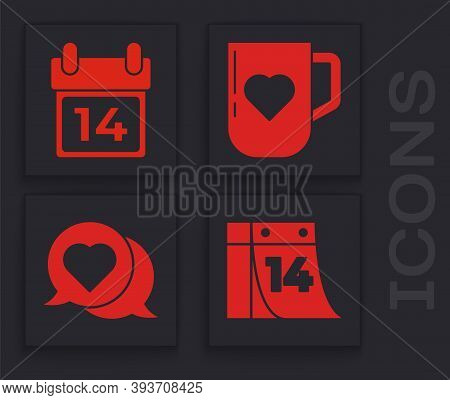 Set Calendar With February 14, Calendar With February 14, Coffee Cup And Heart And Heart In Speech B