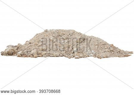 Pile Of Lateritic Soil In Constructon Site Isolated On White Background Included Clipping Path.