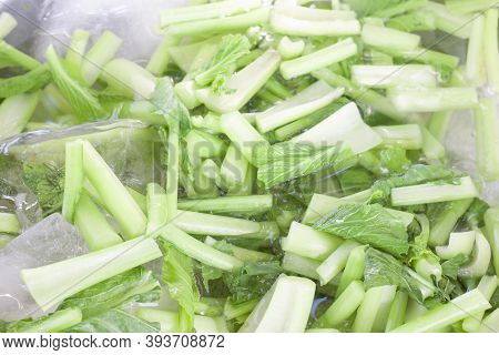 Sliced cantonese Or Bog Choy Vegetables Soaked In Cold Water To Maintain Freshness.