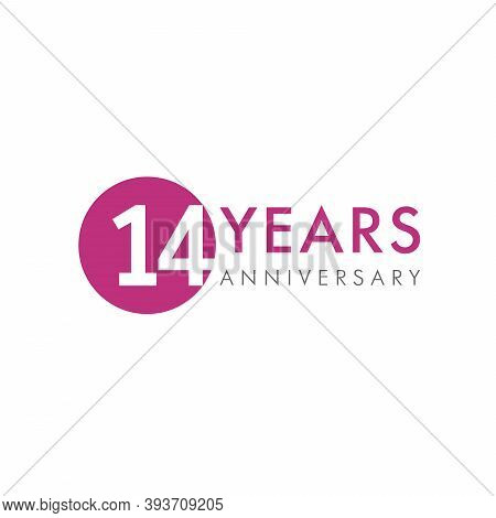 14 Th Anniversary Numbers. 14 Years Old Creative Congrats. Cute Congratulation Concept. Isolated Abs