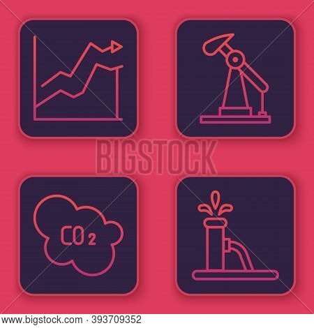 Set Line Oil Price Increase, Co2 Emissions In Cloud, Oil Pump Or Pump Jack And Oil Pump Or Pump Jack