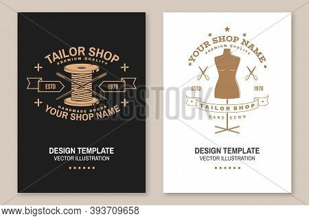 Set Of Tailor Shop Covers, Invitations, Posters, Banners, Flyers, Placards. Vector Illustration. Tem