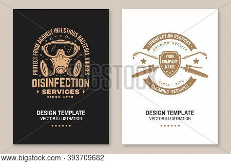Set Of Disinfection, Cleaning Services Covers, Invitations, Posters, Banners, Flyers. Vector. For Pr