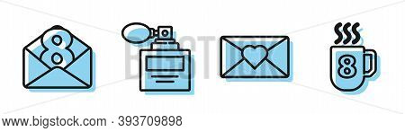 Set Line Envelope With 8 March, Envelope With 8 March, Perfume And Coffee Cup With 8 March Icon. Vec