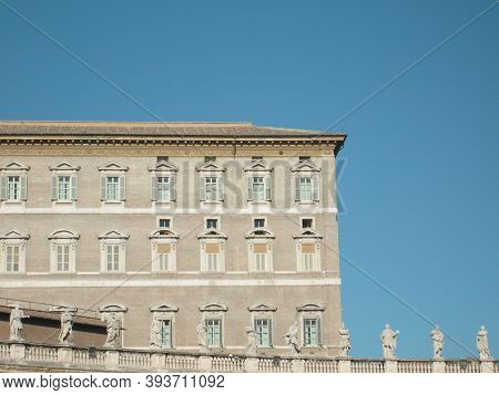 Vatican, Rome, Italy, December 10, 2007, Apostolic Palace. The Official Residence Of The Pope, Head
