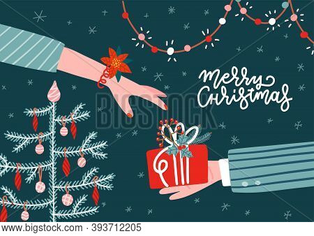 Man Gives A Gift To A Woman. Cardboard Box In Male Hand. Receive Christmas Present. Vector Illustrat