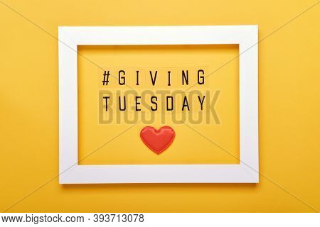 Giving Tuesday Text Message. Global Day Of Charitable Giving After Black Friday Shopping Day