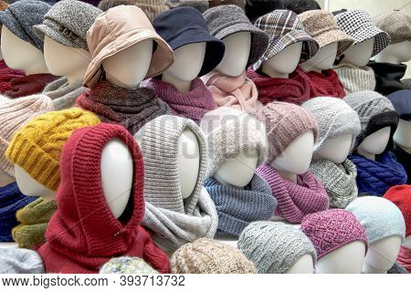 Showcase Of Trade Tent With Variety Of Women's Hats For The Autumn And Winter Seasons - Knitted Hats