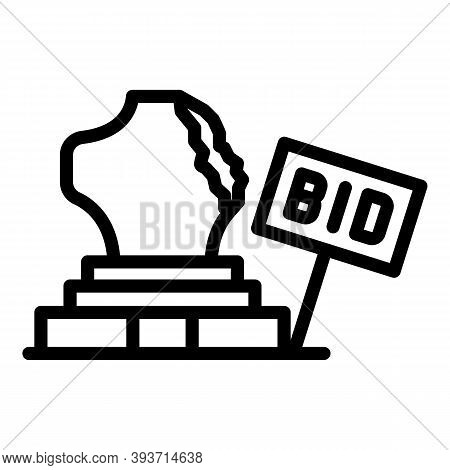 Museum Auction Icon. Outline Museum Auction Vector Icon For Web Design Isolated On White Background