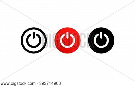 Power On Button Icon Set Vector. Power Off. Shut Down Button Or Power.