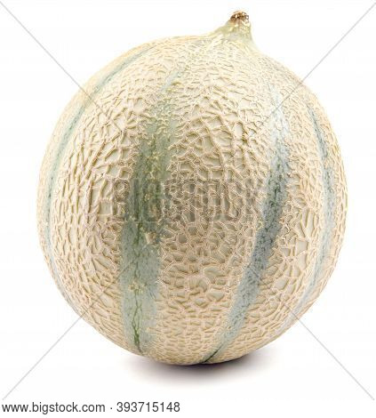 Cantaloupe Melon Isolated On White Background . Ripe Juicy Melon.