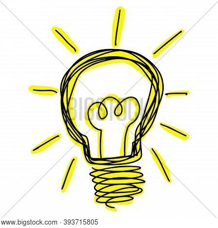 Black Color Doodle Line Handdrawing In Lightbulb Shape With Yellow Light On White Background
