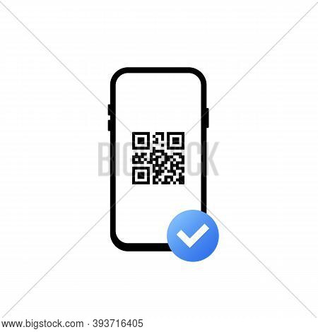 Succesful Payment With Barcode. Qr Code Scanning. Mobile Scans Qr Code. Read Bar Code, Coding. Icon
