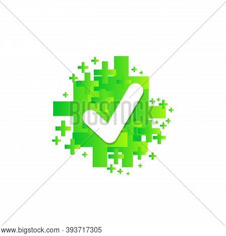 Checkmark Green Icon. Approved Simbol With Green Pros. Vector Illustration Eps10