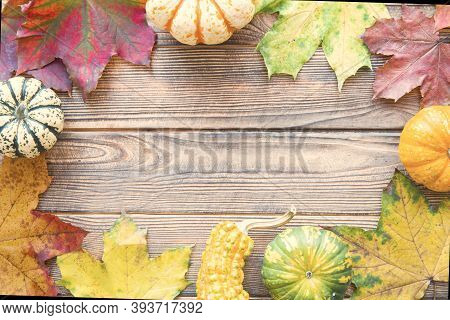 Autumn Background, Space For Thanksgiving Day Greeting, Top View. Red, Yellow, Green Leaves And Litt