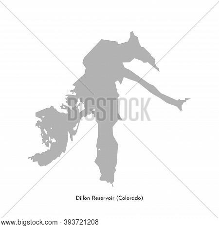 Vector Isolated Simplified Illustration Icon With Grey Silhouette Of Dillon Reservoir Map (colorado