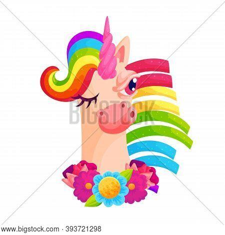 Unicorn With Fluttering Rainbow Mane Vector Illustration. Funny Animal Baby Illustration. Beautiful