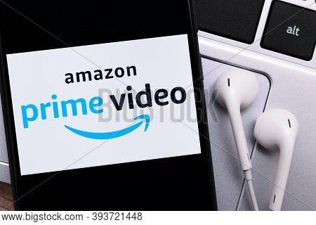 Krakow, Poland - November 08, 2020: Amazon Prime Video Sign On The Smartphone Screen. Amazon Prime V