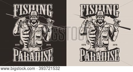 Vintage Fishing Emblem With Happy Fisher Holding Bass And Fishing Rod On Dark And Light Backgrounds