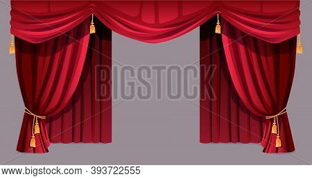 Velvet Curtain Isolated Decorative Stage Drapery Cloth Of Silk With Golden Tassels Ropes. Vector Lux