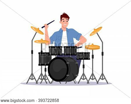 Musician Playing Drum Set Isolated Percussion Instrument And Player. Vector Drummer Musician Beating