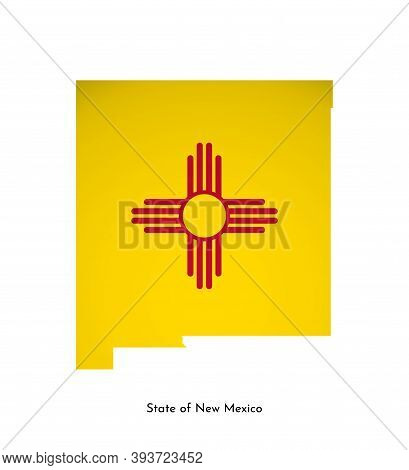 Vector Isolated Illustration With Flag And Simplified Map Of New Mexico (state Of Usa). Volume Shado