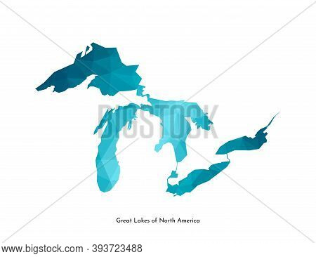 Vector Isolated Simplified Illustration Icon With Blue Low Poly Shape Of Great Lakes Of North Americ