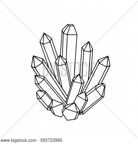 Hand Drawn Mystery Crystals Illustration. Simple Isolated Black And White Drawing Of Precious Gems A