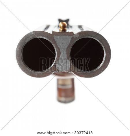 Shotgun aimed at you. Gun control concept. Close up with shallow DOF. poster
