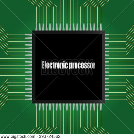 The Electronic Chip Of The Processor On The Green Printed Circuit Board.