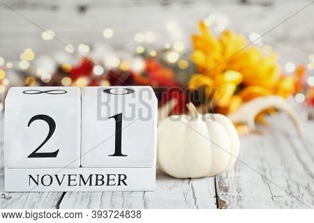 International Survivors Of Suicide Day. White Wood Calendar Blocks With The Date November 21st And A