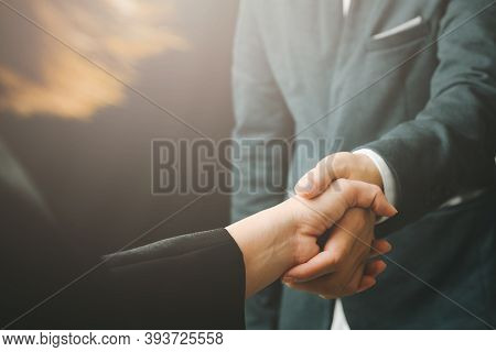 Business Handshake With Partnership Business People Successful Concept Coworkers Handshaking Process