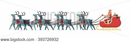 Girl In Santa Claus Costume Riding Sledge With Reindeers Happy New Year And Merry Christmas Banner H