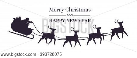 Santa Riding Sledge With Reindeers Happy New Year And Merry Christmas Banner Holidays Celebration Co
