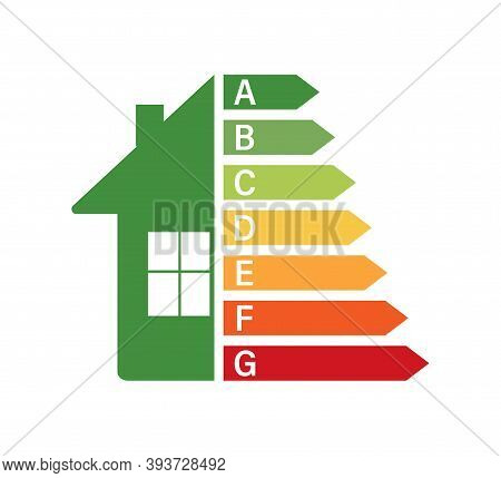Energy Efficiency Chart And House Concept. Home Icon Vector. Solar Power. Green Home. Vector Stock I