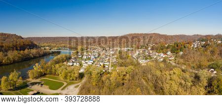 Aerial Drone Panoramic Shot Of The Downtown Area Of Point Marion In Pennsylvania