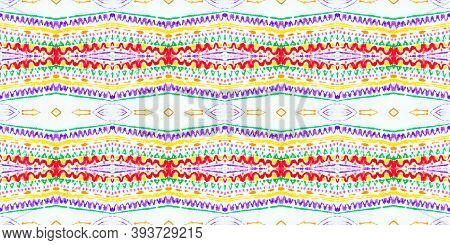 Folk Tribal Seamless Pattern. Multi Colorful Rapport. Abstract Handdrawn Geometric Ethnic Decoration