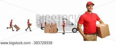 Male courier in a uniform holding a cardboard box and other putting boxes in vans isolated on white background