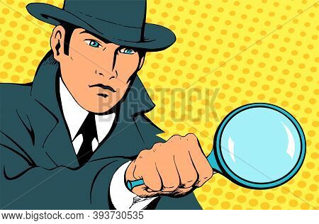 Male Detective Investigating With A Magnifying Glass. Looking For Evidence. Dressed In A Retro Rainc