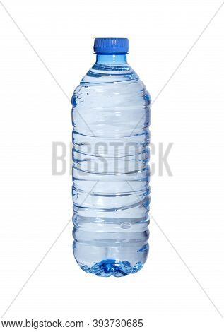 Water Bottles Isolated On White Background. Transparent Plastic Pet Bottle Of Mineral Water.
