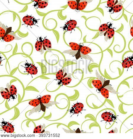 Pattern With Ladybirds On A Colored Background.ladybugs On A Background Of Colored Curlicues In A Se