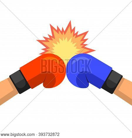 Two Hands In Boxing Gloves.red Versus Blue.confrontation.fighting Emblem.vector Illustration In A Fl